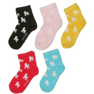 Neska Moda 4 Pair Cotton Kids Unisex Multicolor Ankle Socks Age Group 3 To 7 Years Sk117