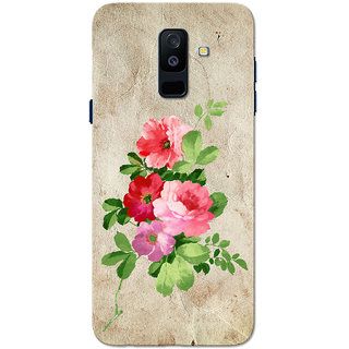 Galaxy A6 Plus 2018 Case, Old Paper Colour Flower Slim Fit Hard Case Cover/Back Cover for Samsung Galaxy A6 Plus 2018