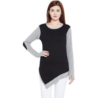 Hypernation Solid Women Round Neck Grey, Black T-Shirt