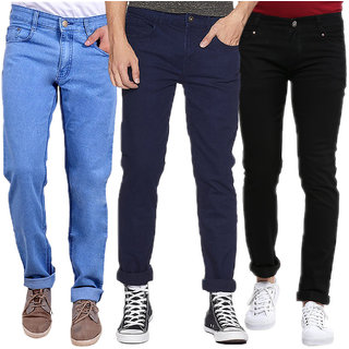 Waiverson Men's Multicolor Regular Fit Jeans (Pack of 3)