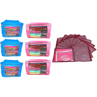 DIMONSIV Saree Cover Combo 6 Pcs Set And Single Packing Saree Cover 12 Pcs Set (Blue,Pink,Maroon)