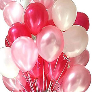 Kraft Zine Collection of Metallic Balloons Red Pink and White Colour with HD Quality for BirthdayCorporate & All Events (Pack of 200 Pieces)
