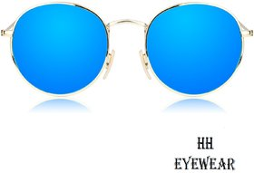 HH Pento Gold Frame Blue Mirrored Sunglasses Lens Unisex Glasses