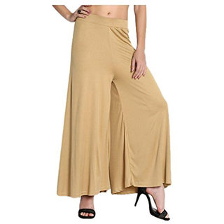 Tara Lifestyle stretchable Designer Plain Casual Wear Palazzo Pant For Women's - Free Size Waist 26-38