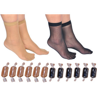 Golazo Womens Ankle Length Ultra Thin Transparent Toffee Socks Pack-12
