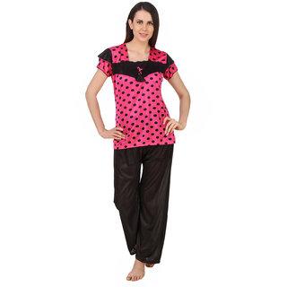 1b0ddca408 Fasense satin polka print night wear top and pajama night suit for women  DP153