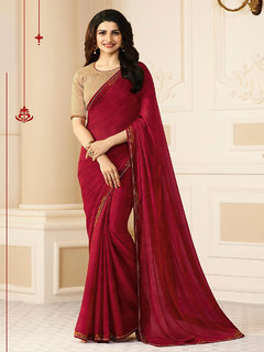 Samarth Fab Maroon Color Silk Festive Wear Party Wear Casual Wear Wedding Wear Mix  Match Lace Work Plain Printed Contrast Bordered Bollywood Style Free Size With Blouse Designer Saree