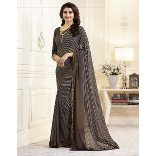 Samarth Fab Brown Color Georgette Festive Wear Party Wear Casual Wear Wedding Wear Mix  Match Lace Work Plain Printed Contrast Bordered Bollywood Style Free Size With Blouse Designer Saree