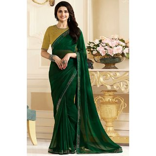 Samarth Fab Green Color Silk Festive Wear Party Wear Casual Wear Wedding Wear Mix  Match Lace Work Plain Printed Contrast Bordered Bollywood Style Free Size With Blouse Designer Saree