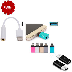 Combo of 3 - Type C TO 35mm Converter + Type C OTG + Micro USB to Type C Converter- Assorted Color