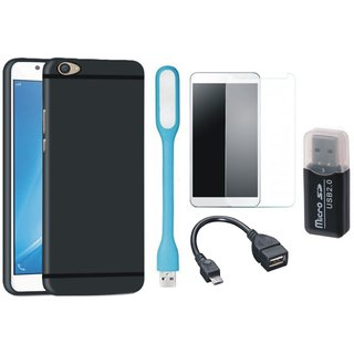 Samsung J5 Prime Premium Quality Cover with Memory Card Reader, Tempered Glass, USB LED Light and OTG Cable