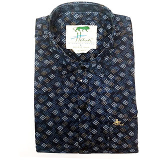 Men's Cotton Casual & Formal full Sleeves Shirts With Check BOX Design Shape_KDST-12_M
