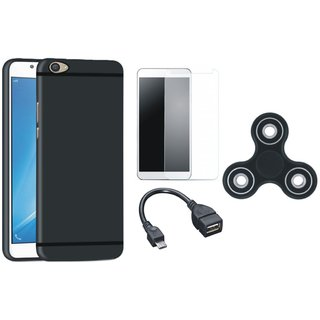 Samsung J5 Prime Silicon Slim Fit Back Cover with Spinner, Tempered Glass and OTG Cable
