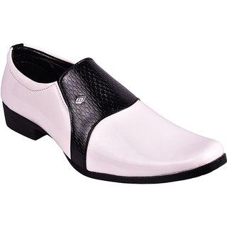 Bb Laa Black-White Comfortable-Stylish Men's Slip-on Formal Shoes