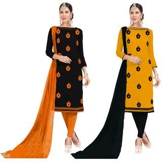 13b1704c611e Beelee Typs Black-Yellow Cotton Lace Kurta Churidar Material Dress Material  (Unstitched)