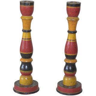 JP Arts Multicolor Wooden Lecqred Candle Holder Set of 2