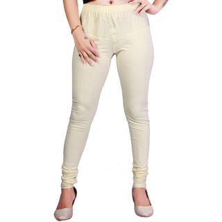 Krizler Women's Cream Cotton Leggings