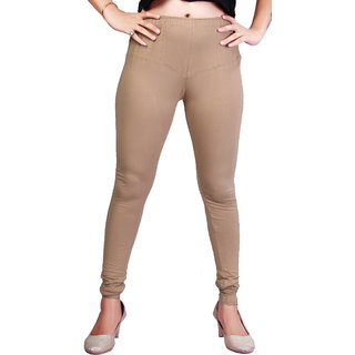 Krizler Women's Beige Cotton Leggings
