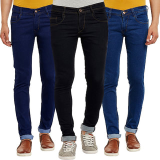 Waiverson Multicolor Cotton Regular Fit Casual Mid Rise Jeans For Men Pack of 3