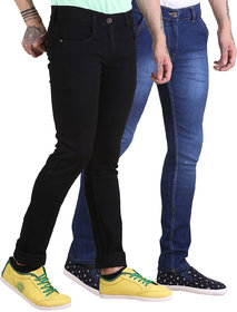 Van Galis Fashion Wear Black and Blue Jeans For Men's-Pack of 2