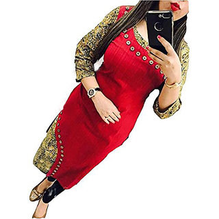Holyday Stylish Party Wear Digital Printed Cotton Kurti Red Color Full Stitched   For Girls / Women