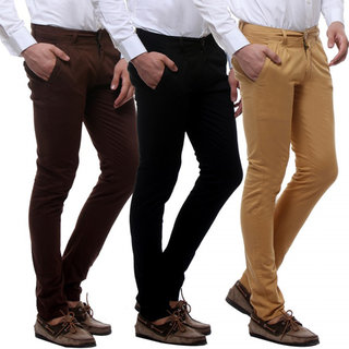 Pack of 3 Multi Slim Fit Mens Casual Trousers by Spain Style Fashion