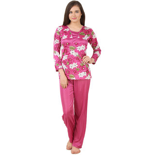 Fasense floral print satin night wear top and pajama night suit for women DP178