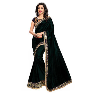 9e5f03bbbe32b Buy Black Paper Silk Saree With Embroidery Blouse Pieces Online ...