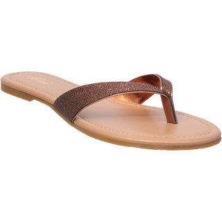 Flora Comfort Copper Flat Sandal For Women