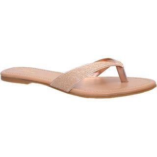 Flora Comfort Golden Flat Sandal For Women