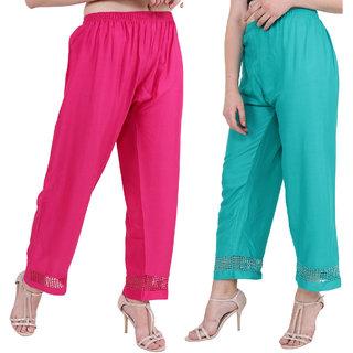 Skyline Trading Pink and Green Stylish & comfortable Plazo Pants