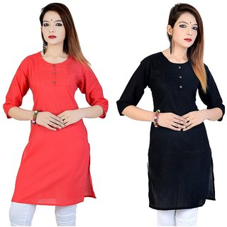 Meia Pink & Black Plain Cotton Stitched Kurti (Combo of 2)