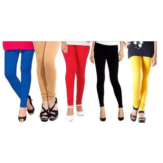 Multicolor Viscose Leggings By IFS (Combo of 5)
