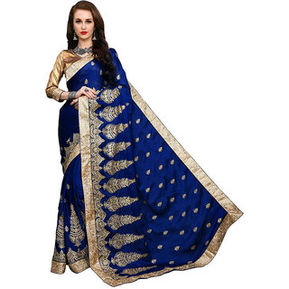 dfb130b73d5 Buy Sargam Fashion Embroidered Fashion Satin Saree (Blue) Online - Get 45%  Off