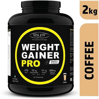 Sinew Weight Gainer Pro with Digestive Enzymes, Coffee, 2Kg