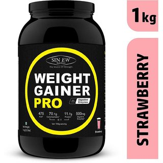 Sinew Nutrition Weight Gainer Pro with Digestive Enzymes, Strawberry, 1Kg