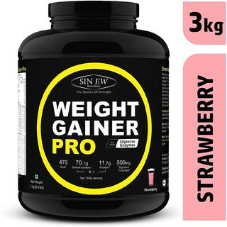 Sinew Nutrition Weight Gainer Pro with Digestive Enzymes, Strawberry, 3Kg