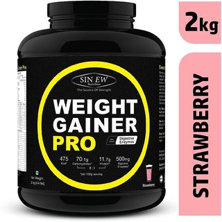 Sinew Nutrition Weight Gainer Pro with Digestive Enzymes, Strawberry, 2Kg