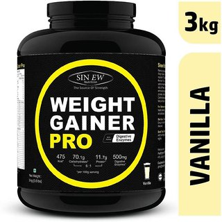 Sinew Weight Gainer Pro with Digestive Enzymes, Vanilla, 3Kg