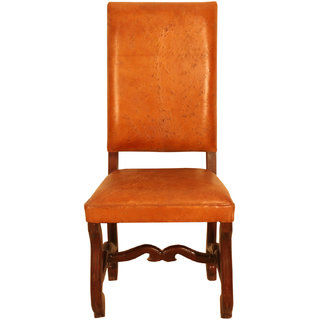 Buy Ganesh Handicrafts Brown Color Wooden Leather Chair Online