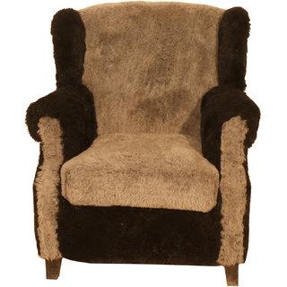 Buy Ganesh Handicrafts Multicolor Wooden Velvet Single Seater Sofa
