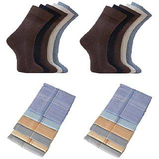 Combo of 10 Socks and 12 Colourful Handkerchiefs - ksocks10colourhanky12