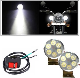 Autosky 6 LED Bulbs Light Fog Lamp Headlight For all Bikes (Set of 2)