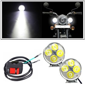 Autosky 4 Led Small Circle Motorcycle Light Bike Fog Lamp Light Set of 2 with Bike On-Off Switch