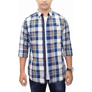 KACLFS1198 - Kuons Avenue Men's Beige Olive Blue Indigo Checks Cotton Long Sleeve Casual Party Shirt with Elbow Patch