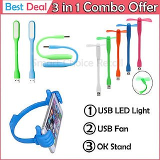 Usb Fan Usb Led Light Ok Mobile Stand Combo By Jaggi Telecom With Warranty