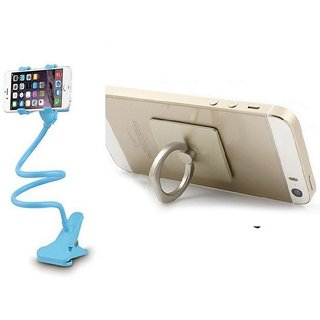 KSJ Iron Mobile & Tablet Combo of Lazy Stand and Ring Mobile Holder (Assorted Colors)
