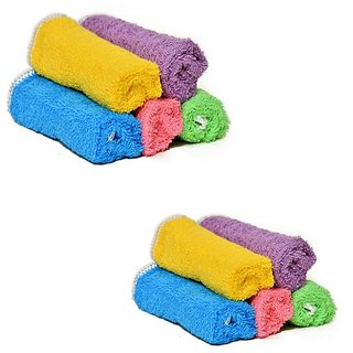 The Intellect Bazaar 10 Piece Pure Cotton Baby Face Towel Combo (Multicolor)