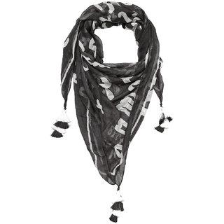 Grishti Black Letter Printed Womens Scarf