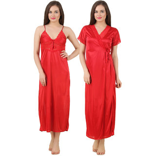 Fasense satin solid sleepwear nighty with robe set nightwear for women GT005 86b56d8e3